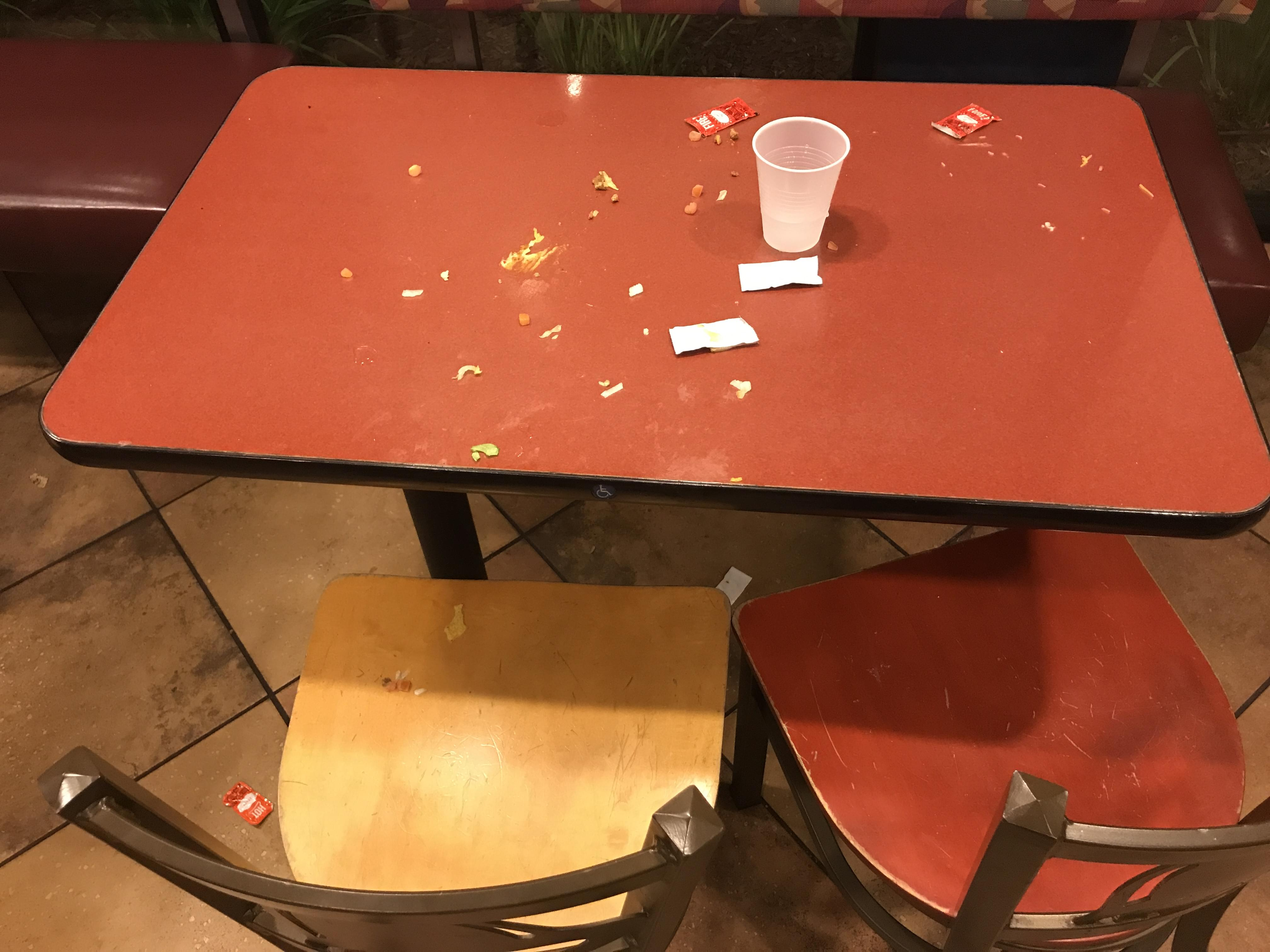 Post Concert Mess Left On The Table At Taco Bell In San Luis Obispo