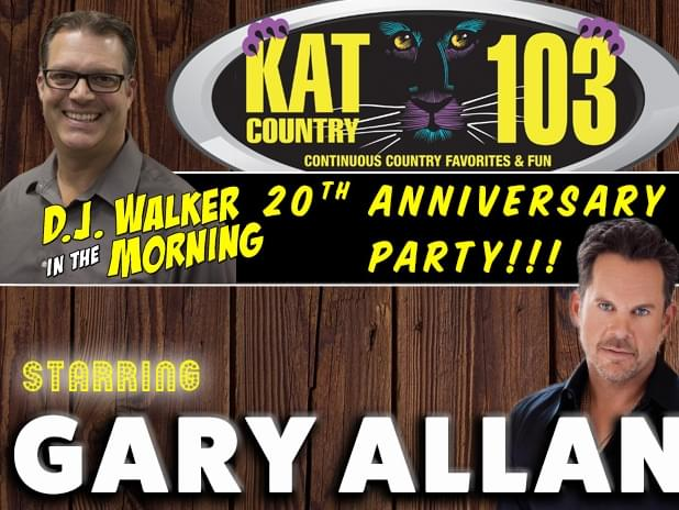 Join Kat Country 103 as we celebrate DJ Walker's 20th Anniversary!! Get your tickets NOW!!