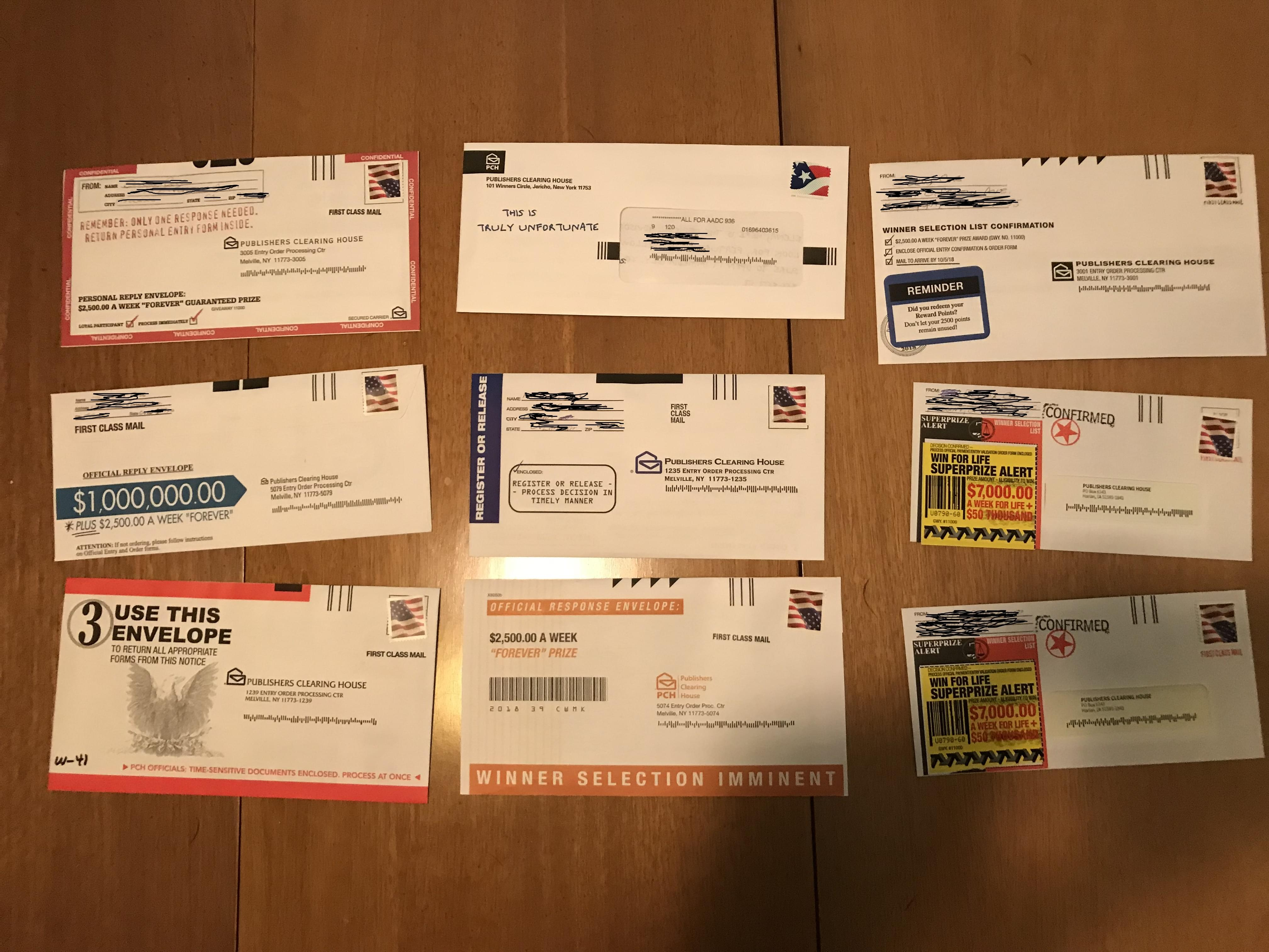 Sending The Publishers Clearing House Mail For My Elderly