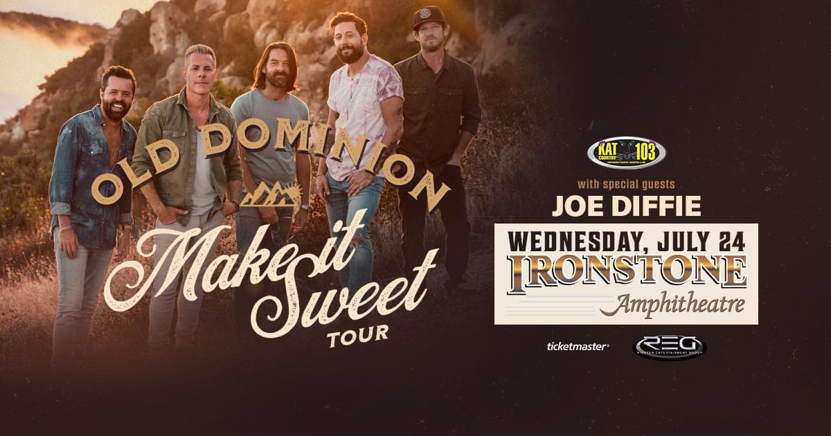 Kat Country 103 Presents Old Dominion w/Special Guest Joe Diffie July 24th At Ironstone Amphitheatre!