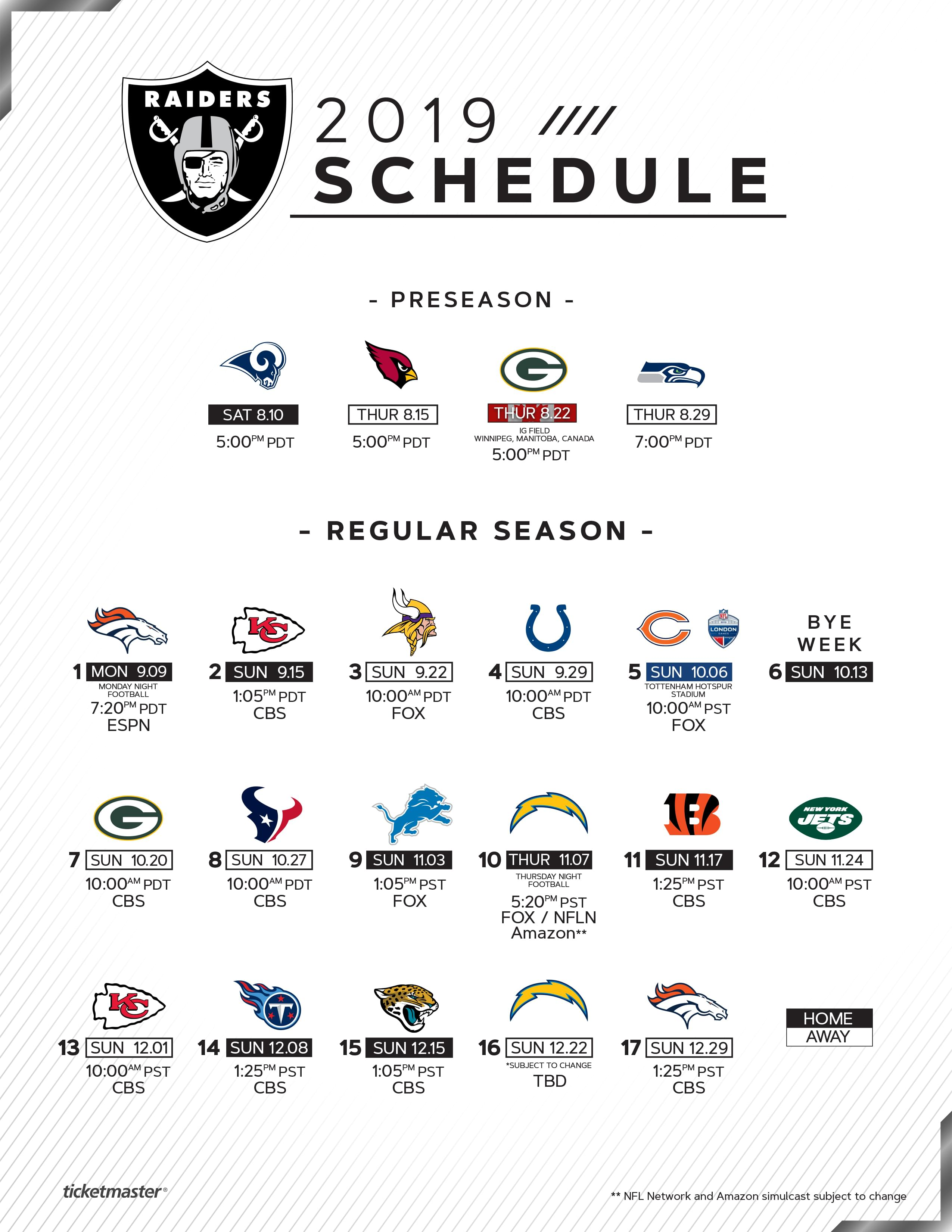 Image result for Raiders Game 2019 schedule