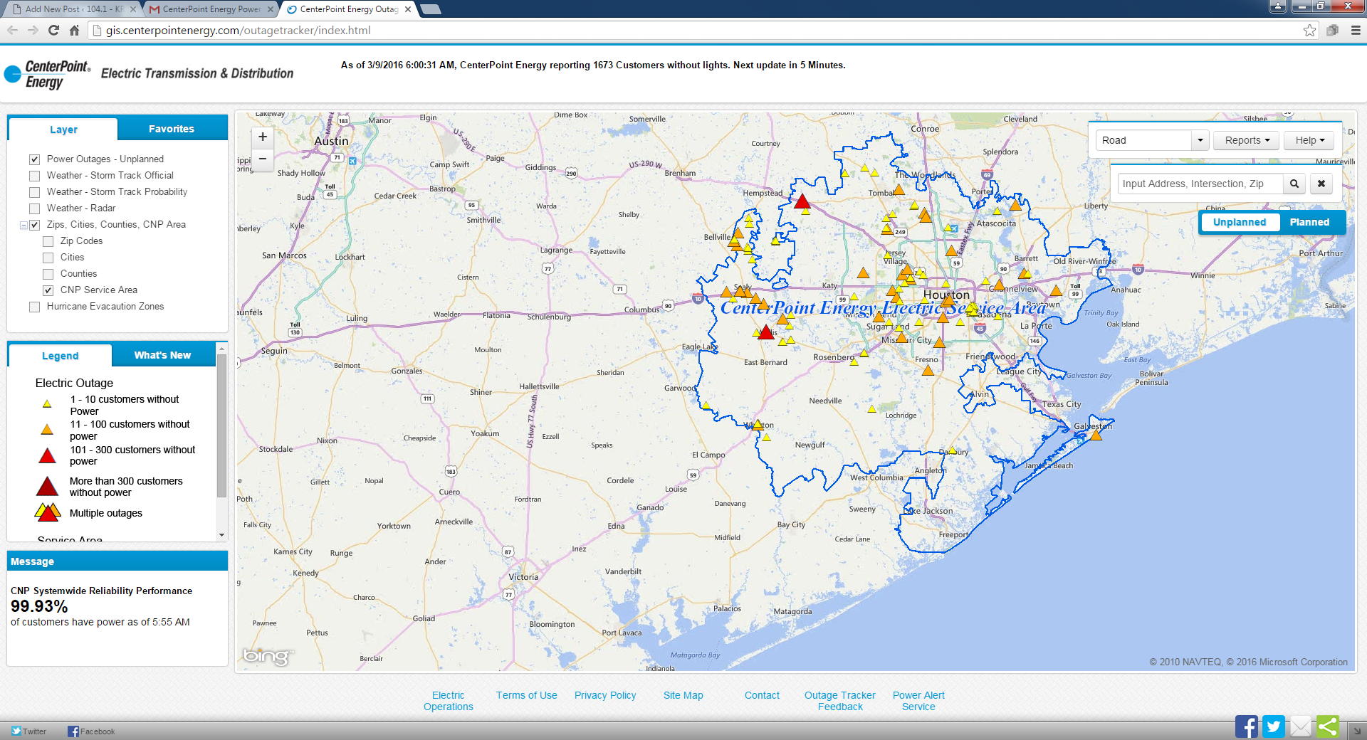 Center Point Outage Map | 104.1 – KRBE | KRBE FM
