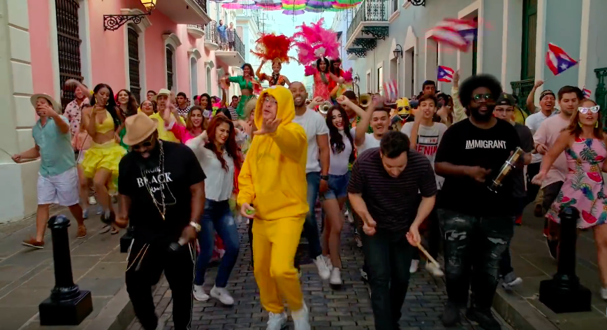 Bad Bunny performed 'Mia' while parading through Puerto Rico with Jimmy Fallon