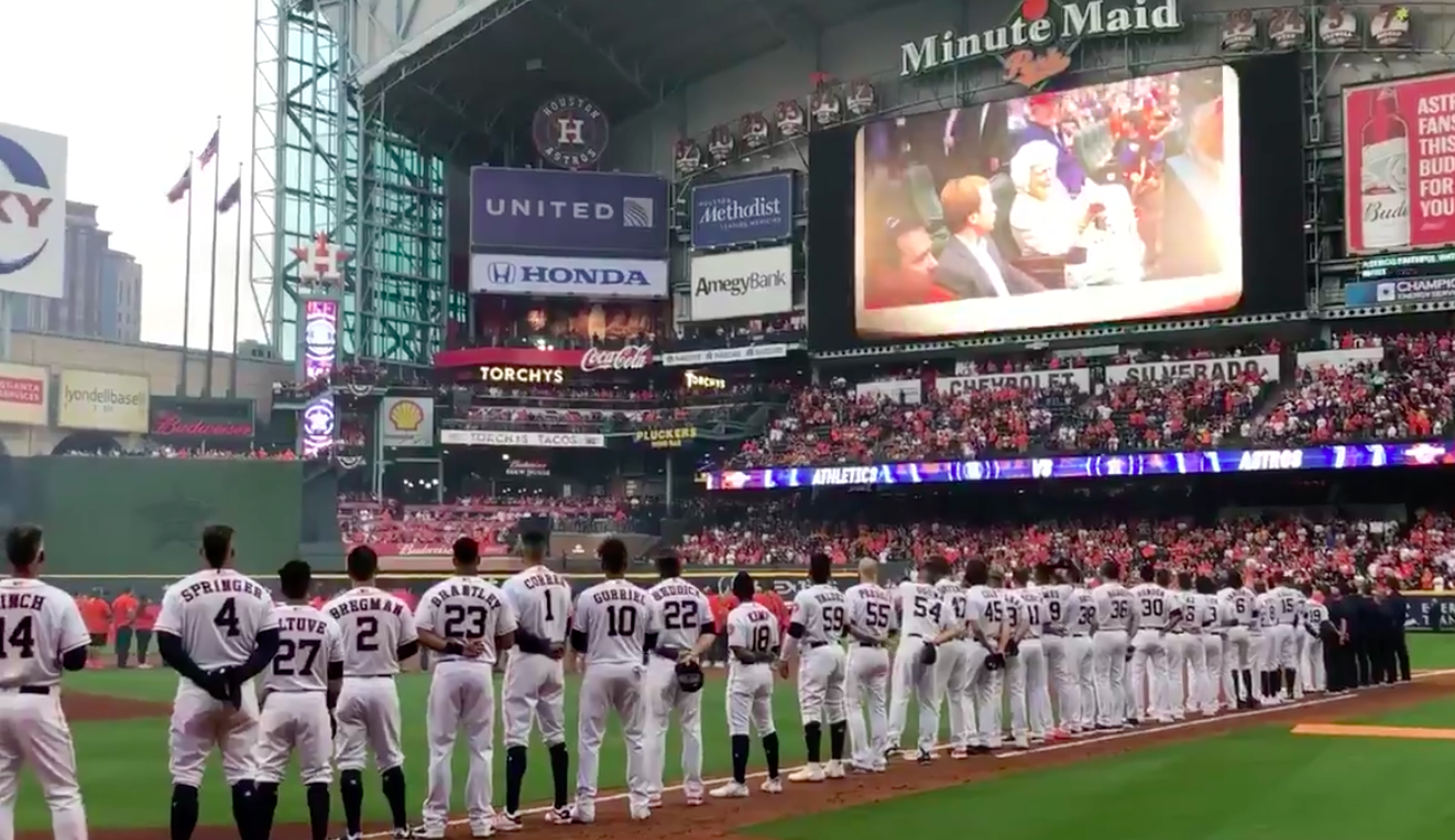 WATCH: Astros tribute George and Barbara Bush at home opening