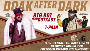 "Blazin' 102.3 welcomes the ""Doak After Dark Florida State Postgame Concert Feat. Big Boi & T-Pain"""