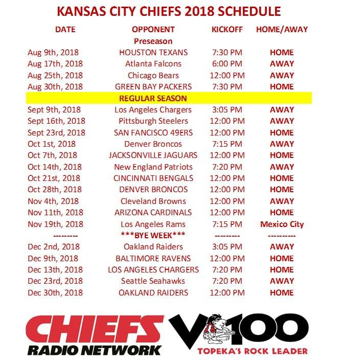 It's just a picture of Fabulous Kansas City Chiefs Printable Schedule