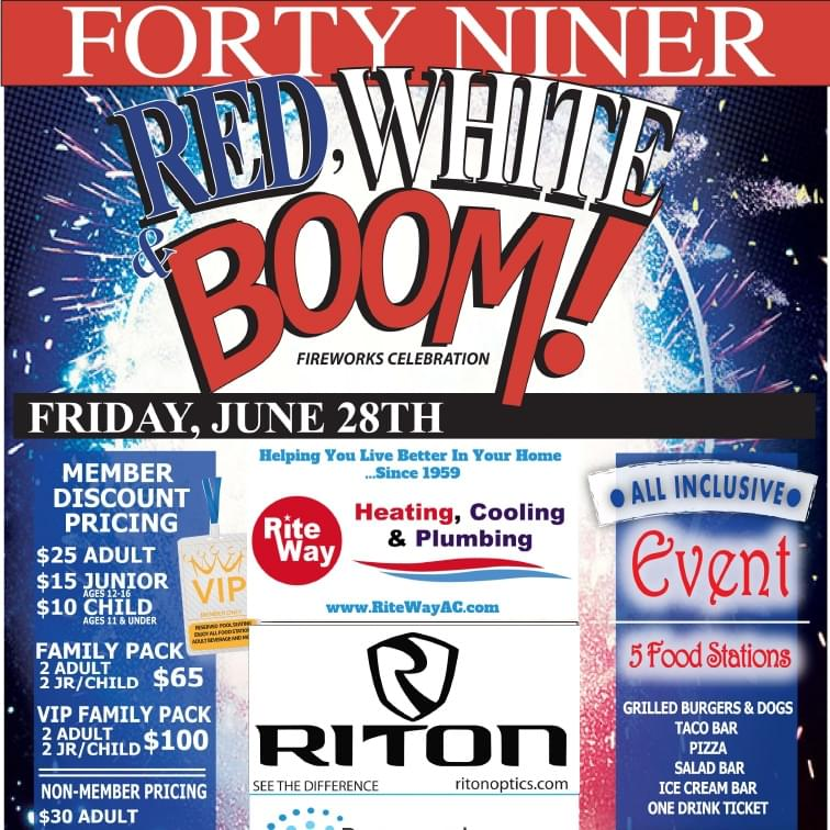 6/28: Red, White, & Boom Celebration at Forty Niner CC