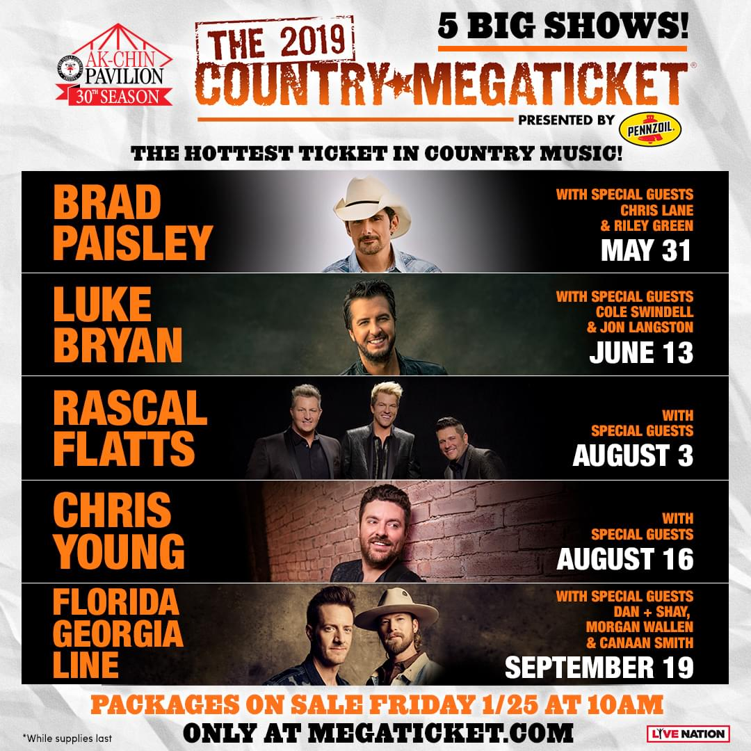 5/31: Megaticket – Brad Paisley, Chris Lane, Riley Green