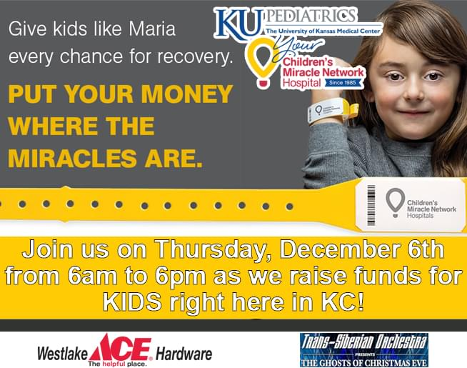 Children's Miracle Network Radiothon on December 6th!