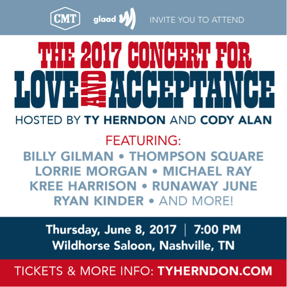 Daily Features Thursday June 8 2017: Ty Herndon Announces Lineup For Love And Acceptance