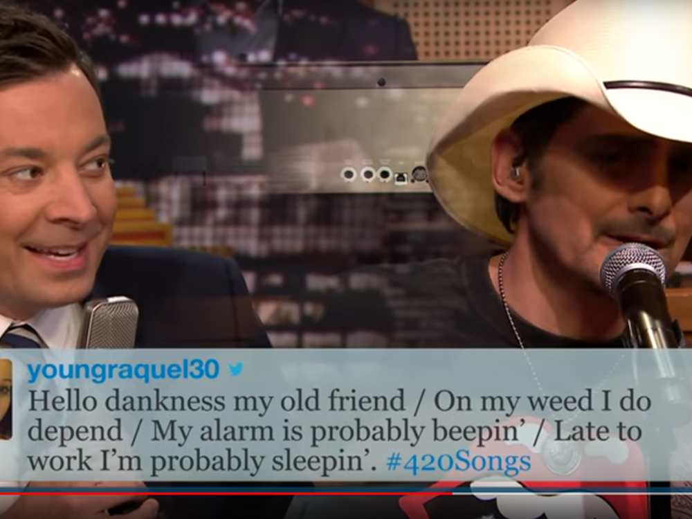 Watch Brad Paisley and Jimmy Fallon Sing Funny Tweets About #4/20 (Weed Day)