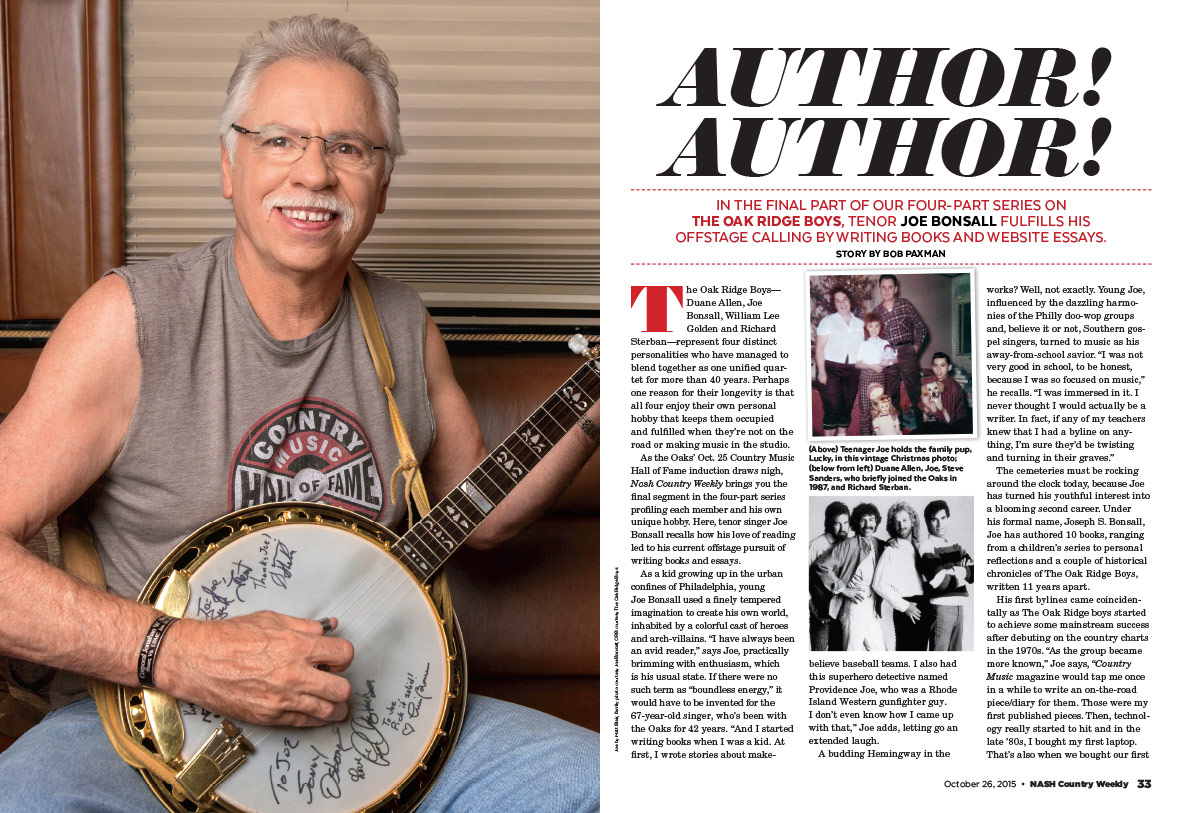 Joe Bonsall of the Oak Ridge Boys: Author! Author! | Nash Country Daily