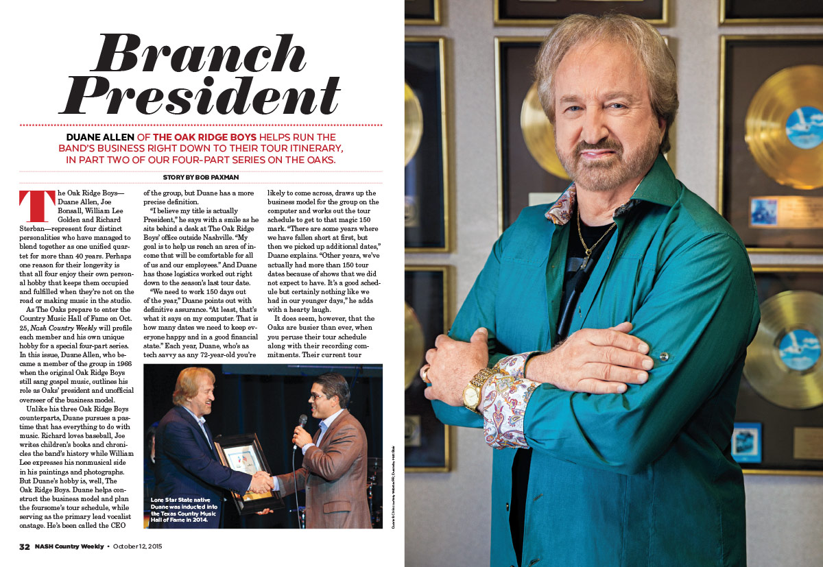 Duane Allen of the Oak Ridge Boys: Branch President