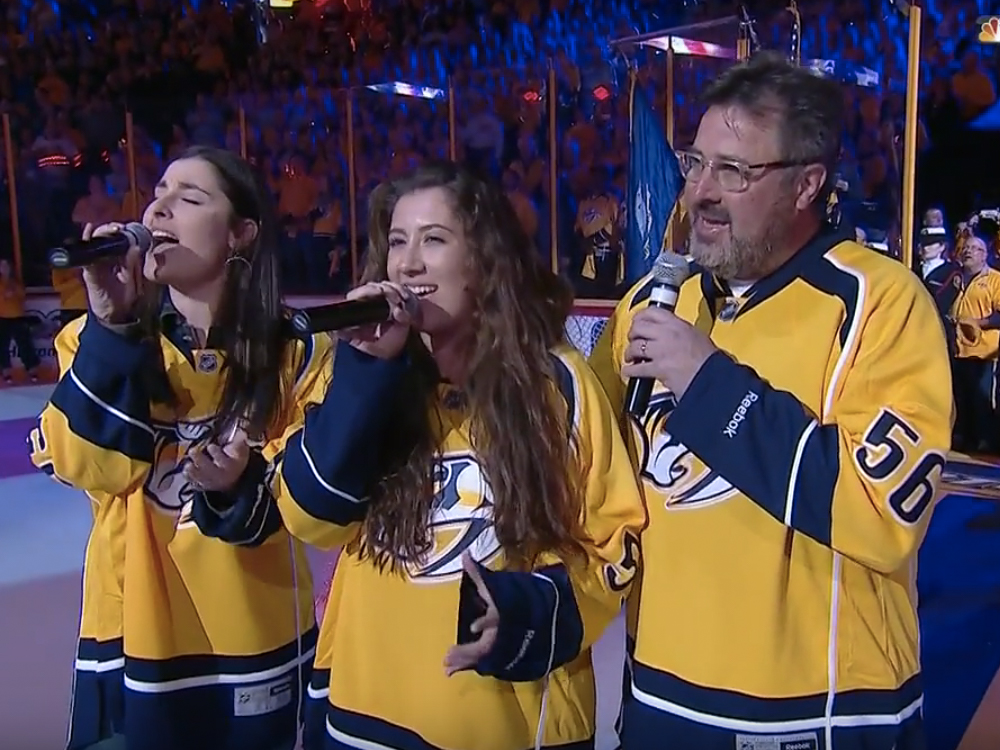 Watch Vince Gill and His Daughters Sing the National Anthem Before the Nashville Predators Playoff Game
