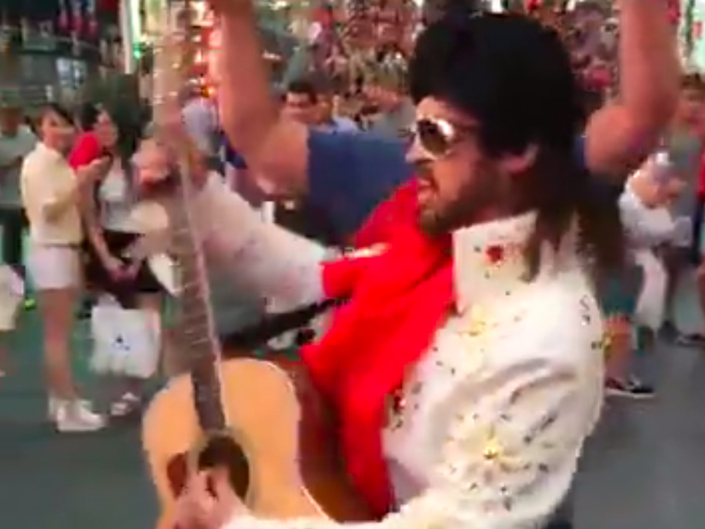 """Watch Burnin' Vernon (AKA Billy Ray Cyrus) Visit Times Square With the Naked Cowboy to Promote CMT's """"Still the King"""""""