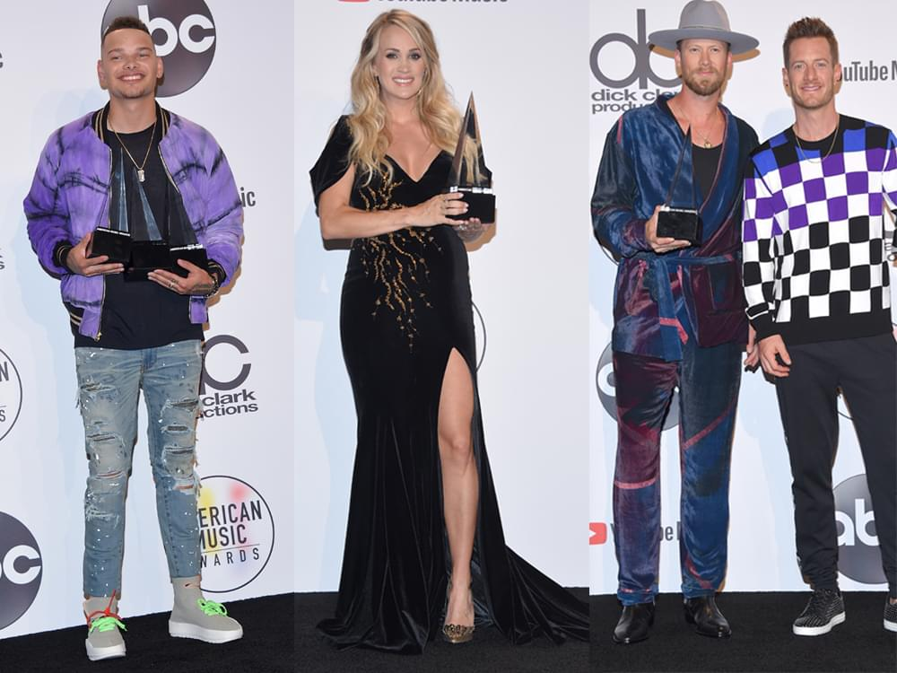 Kane Brown, Carrie Underwood and Florida Georgia Line Win 2018 American Music Awards