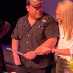 "Watch Luke Combs & His Fiancée Get Some ""Practice"" Cutting Their Wedding Cake"