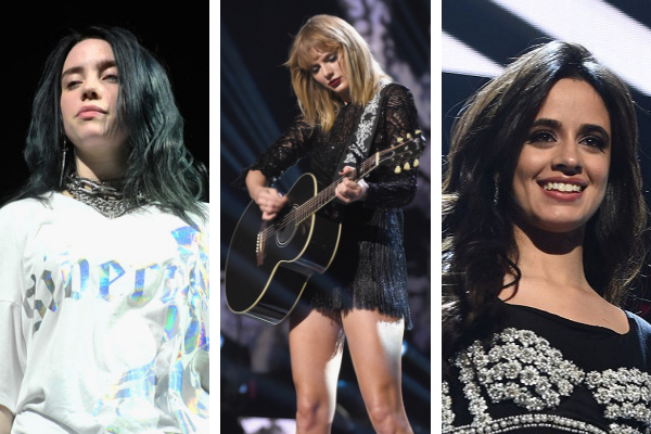 Billie Eilish, Taylor Swift, and Camila Cabello