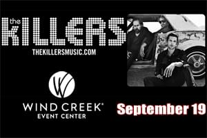 SPIN RADIO Welcomes The Killers to Wind Creek Event Center