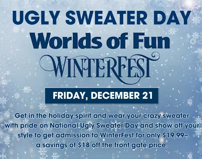 Ugly Sweater Day at Worlds of Fun WinterFest! December 21st!