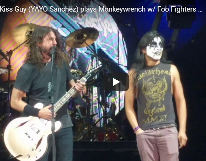 "WATCH: Dave Grohl Pulls Fan In Full KISS Makeup Onstage For ""Monkey Wrench"""