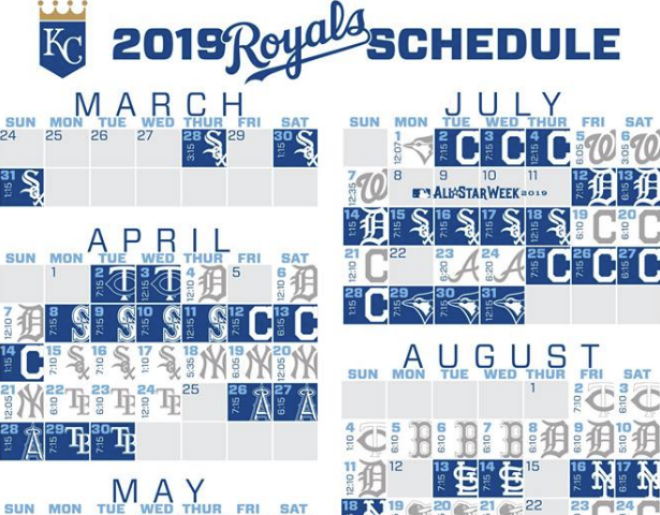 Full Royals 2019 Schedule