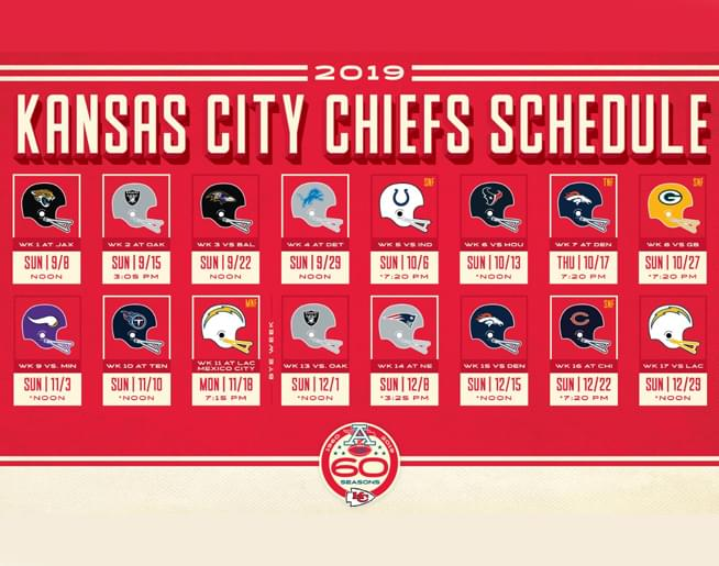 2019 Kansas City Chiefs Schedule
