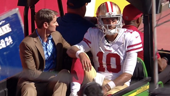Jimmy Garoppolo carted off with knee injury, Shanahan fears it's ACL