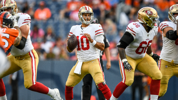 Garoppolo has more interceptions than yards in return, but 49ers run well in win over Broncos