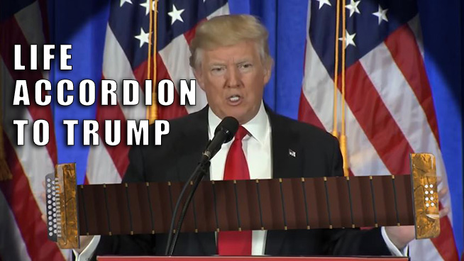 "►Trump ""Plays"" the Accordion During His Speech"