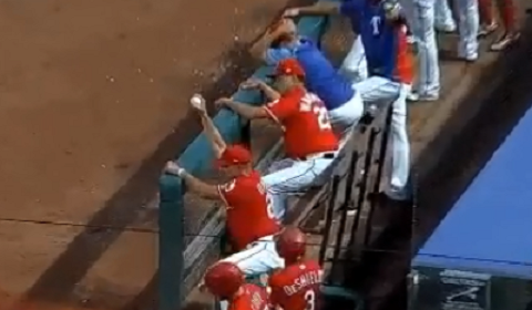 Rangers Manager Casually Catches Foul Ball