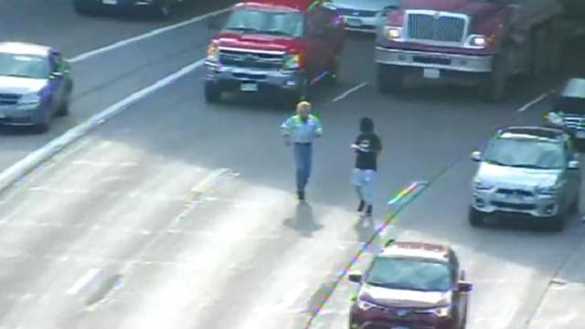 Man Walking on I-94
