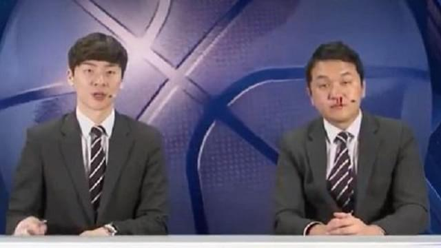 Japanese Sportscaster Powers Through Bloody Nose
