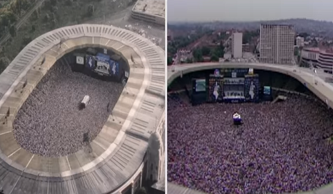 "Side By Side Clip Of ""We Will Rock You"" As Part Of LIVE AID Re-Enactment"