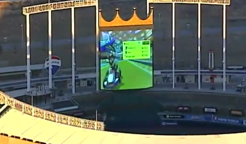 Workers At Kauffman Stadium Playing Mario Kart On Video Board