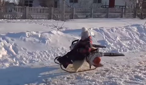Dad Makes Snowmobile Out Of Leaf Blowers