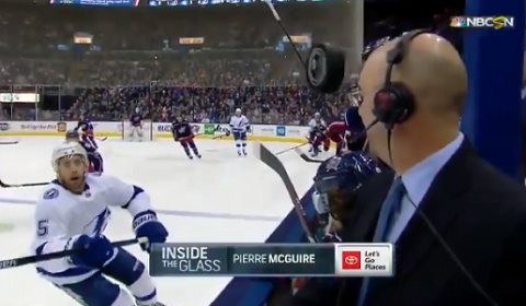 Pierre McGuire Almost Gets Hit In Head By Puck