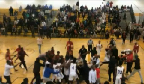 Highschool Basketball Final End In Double DQ