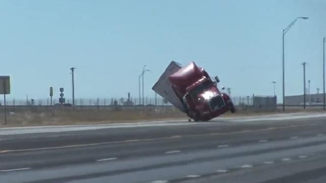 High Winds Tip Over Semi Truck