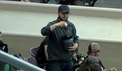 Guy Catches Foul Ball With Popcorn Bucket