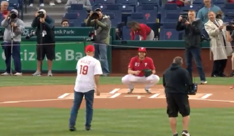 Bruce Willis One-Hops First Pitch