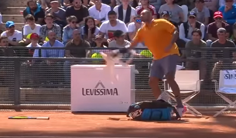 Tennis Player Blows Up And Throws Chair On Court