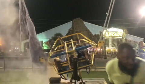 Cable Snaps Seconds Before Slingshot Ride Launches