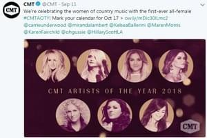 """Only Women Will Be Honored at This Year's """"CMT Artists of the Year"""""""