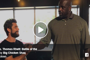 WATCH: Thomas Rhett Battles Shaq in Axe-Throwing!