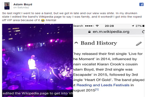 Teen Edits Band's Wikipedia Page To Bluff His Way Into VIP Section