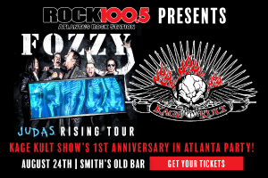 Rock 100.5 Presents FOZZY – & come celebrate the 1st Anniversary of Kage Kult in Atlanta!
