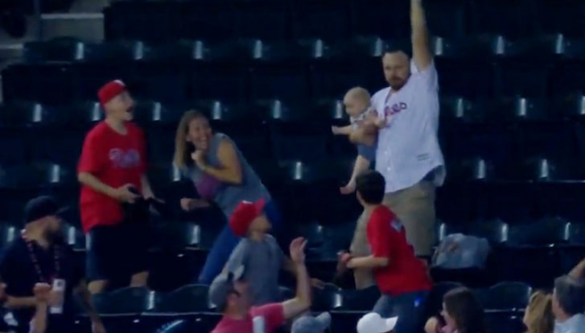 Dad Catches Epic Foul Ball