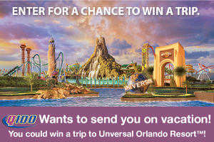 Q100 wants to send you on vacation! You could win a trip to Universal Orlando Resort™!