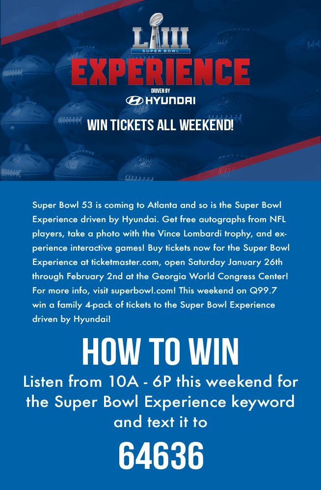 Win Tickets to the Super Bowl Experience Driven by Hyundai!